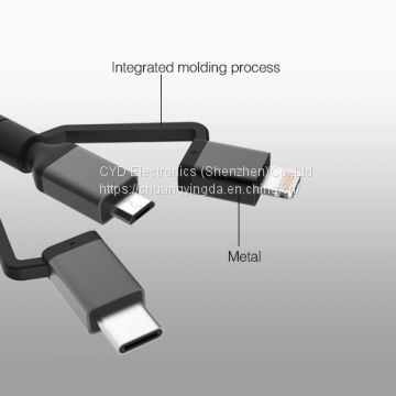 MFi-certified 3-in-1 Cable with Lightning, Type-C, Micro-B for iPhone/iPad/iPod/Samsung