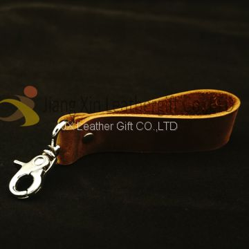 Dog Hook Leather Keychain, Leather Key Ring with Brass, Vintage Leather Key Chains Hook Strap