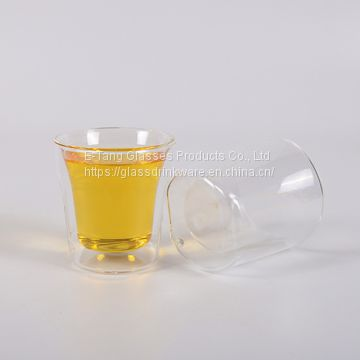 Wholesale Factory Directly 70ml double wall shot glass cup, drinking glasses, double wall shot glass whisky cup