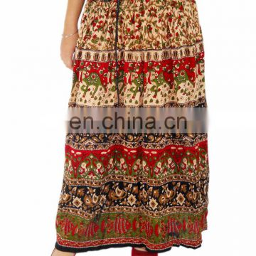Hippie Boho Gypsy Floral Tribal Batik Animals Elastic Waist Long Skirt Dress Skirt handprinted long jupe falda Indian gypsy kjol