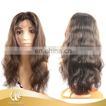 Wholesale 100% Virgin Unprocessed hair, Full lace wig Brazilian human hair wig HOTBEAUTY