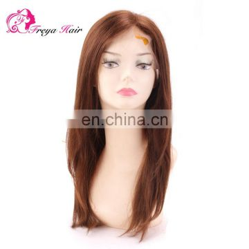 Hot Selling Good Feedback brawn Color Natural Wave 100% Human Hair Virgin Brazilian Lace front Wig With Pre Plucked Hair Line