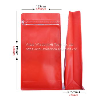Red flat bottom pouch with zipper and one degassing valve for coffee bean packaging bags