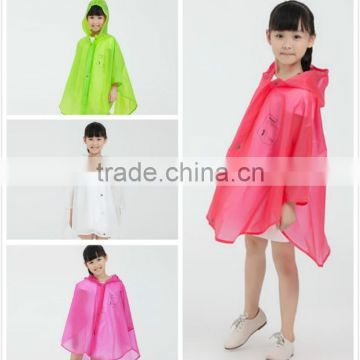 Children Disposable emergency PE rain poncho rain coat raincoat for kids