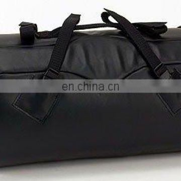 HMB-0004A LEATHER MOTORCYCLE SISSY BAR BAGS ROUND DUFFLE HEAVY DUTY