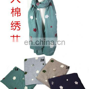BTL31292 cotton with embroider long SCARF