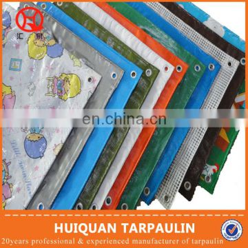 waterproof plastic sheet canvas tarpaulin blue orange