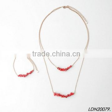 2016 fashional Red stone 2layerings Necklace