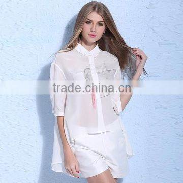 Hot 2016 Summer Women Chiffon Blouse Printing Ink Short Front Long Back Top Elegant White Polyester Fashion Cutting Blouse