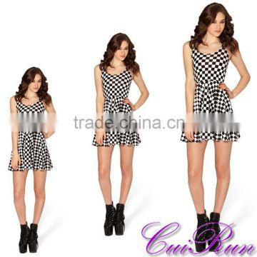 Designer One Piece Party dress Women Sexy Dress Plus Size Black and White Plaids Print N4-39