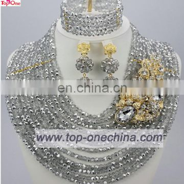 2016Wedding jewelry set silver color \African bead necklace for bridal\Handmade jewelry for lady