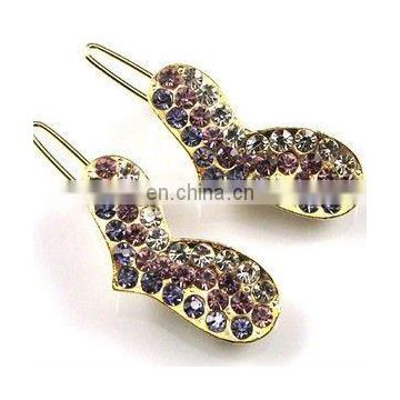 2013 newest fashion alloy heart rhinestone hair clip