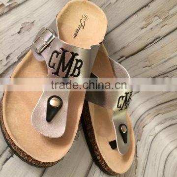 b130fd0437515 Monogrammed Sandals Personalized T Strap Shoes Womens Birkenstock ...