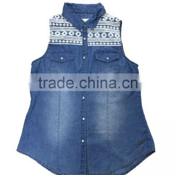 Denim vest clip women wild lace cardigan embroidered vest jacket stitching single-breasted casual personality tide hole