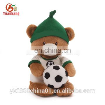 China factory wholesale personalized stuffed brown plush football teddy bear doll