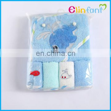 lovely animal shape baby hooded towel with hat and washcloths set wholesale