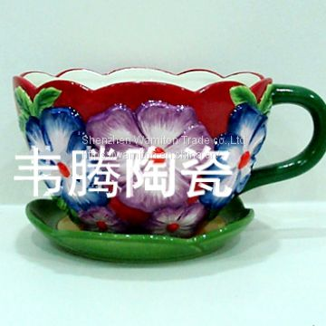 wamiton porcelain flower pot and saucer planter
