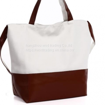 white canvas shoulder bag with PU bottom