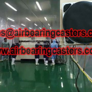 Air casters applied on moving and handling production lines