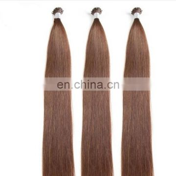 Best selling brown color pre-bonded hair popular I tip hair high quality peruvian hair extension