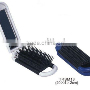 Mini pocket folding hair brush with mirror/plastic travel mirror with comb