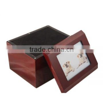 Pine wood pet photo frame urn for cremaiton