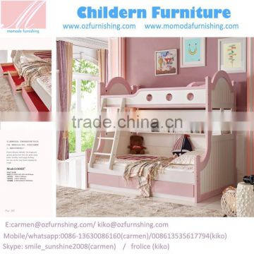 Mj666b Boys Girls Pink Blue Bunk Bed Bedroom Set Wooden Children