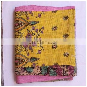 Indian Handmade Quilt Vintage Queen Kantha Bedspread Cotton Blanket Ralli Throw