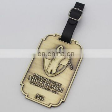 Metal embossed golf bag tags custom