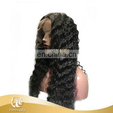 2017 Paypal Hot Cap-360 frontal made 160% density virgin human hair Deep Wave wig