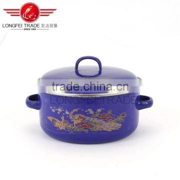 bule enamel cookware/enamel casserole sets with enamel lid wholesale