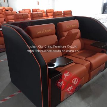 Custom genuine leather power recliner love seat with tray table for cinema hall
