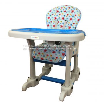 EN14988 Ningbo Dearbebe Multi-functional Child Highchair Plastic Kids Table and Chair Baby High Chair