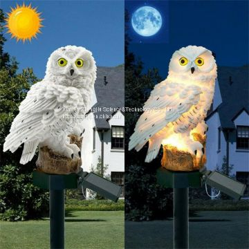 European style retro resin solar simulation owl garden to insert small night light garden crafts place