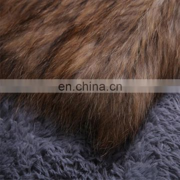 Natural color weaven knitting raccoon fur overcoat wholesale China