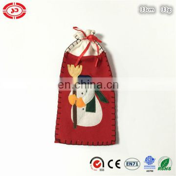 Xmas gift red felt candy bag with snowman cute gift