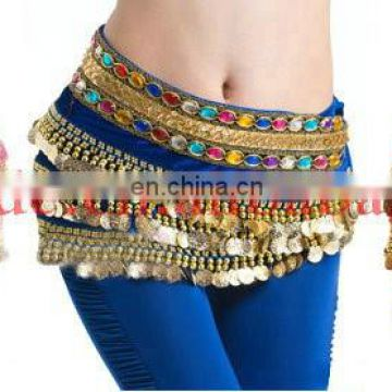 Indian belly dance hip scarf with gold coins Y-2033#