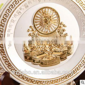 custom antique gold plated 3D souvenir metal plates