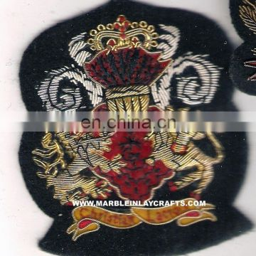 Hand Embroidered Gold / Silver / Antique Bullion Blazer Badge, Crest, Insignia, Patch, Logo, Emblem, Hand Embroidery Badges