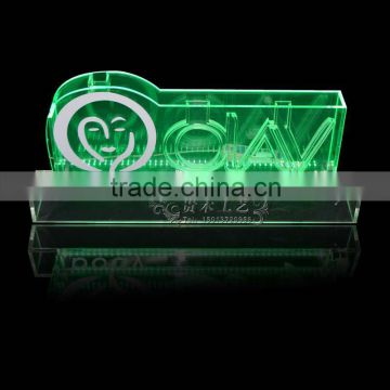 acrylic LED logo display stand lucite edge lit sign for Olay brand wine  immit stand