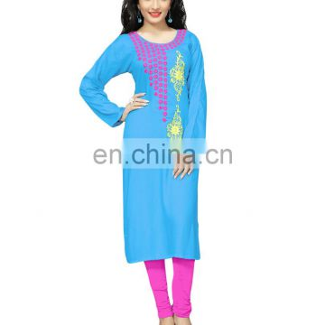 Ladies Daily Office Wear Rayon Soft Cotton Stitched Kurtis Designs 2017