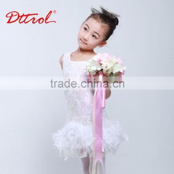 Children white fluffy skirt with feather for latin dance dress D032001