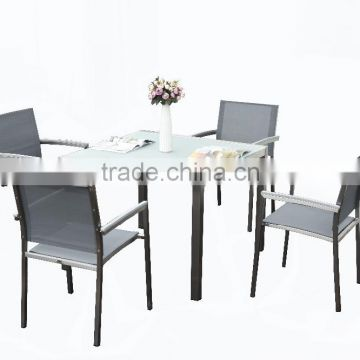 304 Grade Brushed Stainless Steel Outdoor Garden Dining Tables And Chairs Set Ceramic