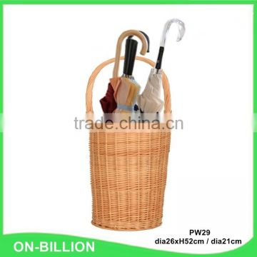 Handmade tall home natural corner wicker umbrella basket