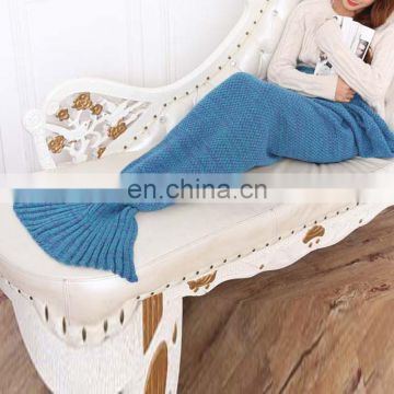 High quality fashion girl casual sofa blanket knitted mermaid blanket