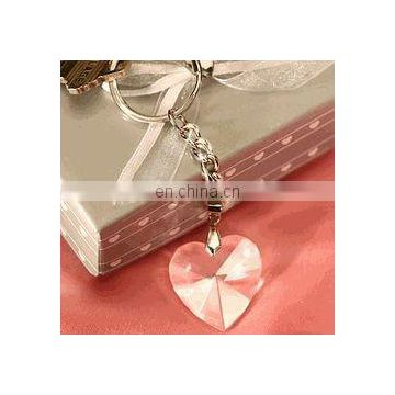 Chrome Key Chain with Crystal Heart Wedding Favors