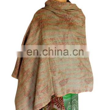 Silk Sari Shawl Reversible Handmade Re-cycled Silk Scarf / Stole Multicolor Multiuse Unique Handwoven Kantha Work quilted scarf
