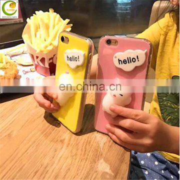 New Lovely 3d Squeeze Squishy Lazy Cat Silicone Phone Casing Cellphone Case For Iphone 7 7plus Soft Tpu Cover