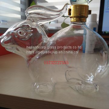 glass rabbit wine bottle handmade glass bottle