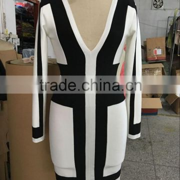 2016 new sey women deep V neck Long sleeve bandage dress white black strap patchwork evening party prom winter Dress Wholesale